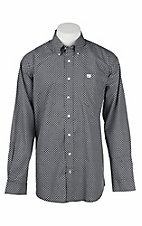 Cinch Men's Black and White Mini Print L/S Western Shirt