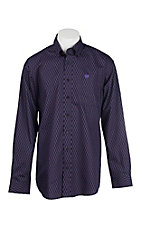 Cinch Men's Black and Purple Diamond Print Long Sleeve Western Shirt