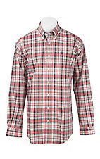 Cinch Men's Red and Cream Plaid L/S Western Shirt