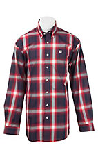 Cinch Men's Red, White, and Navy Plaid L/S Western Shirt