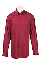Cinch Men's Red and Navy Stripe L/S Western Shirt