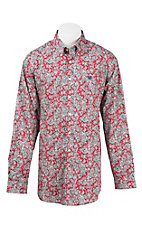Cinch Men's Red, Navy, and White Medallion Print L/S Western Shirt