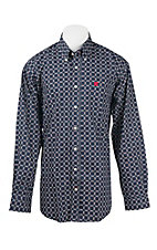 Cinch Men's Navy, White, and Red Square Print L/S Western Shirt