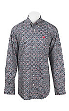 Cinch Men's Navy, Red, and White Medallion Print L/S Western Shirt