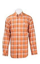 Cinch Men's Orange and White Plaid L/S Western Shirt