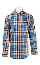 Cinch Men's Orange, Blue, and White Plaid L/S Western Shirt
