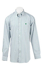 Cinch Men's White, Green, and Blue Striped L/S Western Shirt
