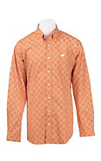 Cinch Men's Orange and White Floral Print L/S Western Shirt