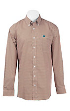 Cinch Men's Orange, Blue, and White Print L/S Western Shirt