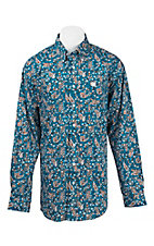 Cinch Men's Orange, Blue, and White Paisley Print L/S Western Shirt