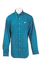 Cinch Men's Teal and White Square Print L/S Western Shirt