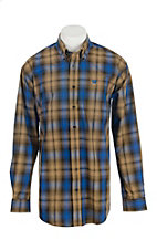 Cinch Men's Tan and Blue Plaid L/S Western Shirt