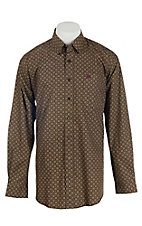Cinch Men's Tan Square Print L/S Western Shirt