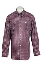 Cinch Men's Burgundy Aztec Print L/S Western Shirt