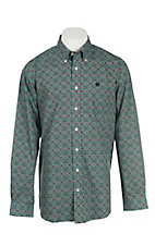 Cinch Men's Green and Red Medallion Print L/S Western Shirt