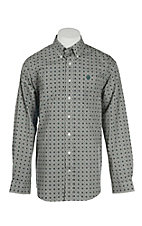 Cinch Men's Black and White Circle Print L/S Western Shirt