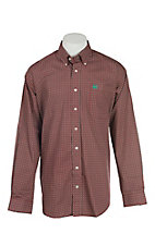 Cinch Men's Red and Green Mini Print L/S Western Shirt