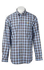 Cinch Men's Blue and Gold Plaid L/S Western Shirt