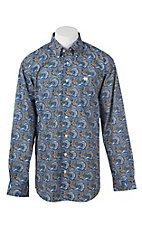 Cinch Men's Royal and Gold Paisley Print L/S Western Shirt