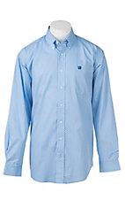 Cinch Men's Light Blue Oval Print L/S Western Shirt