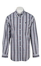 Cinch Men's White and Navy Plaid L/S Western Shirt