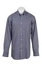 Cinch Men's Navy and Red Print Long Sleeve Western Shirt