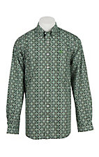 Cinch Men's Green Print  Long Sleeve Western Shirt 1104414