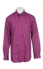 Cinch Men's Fuchsia Print Long Sleeve Western Shirt