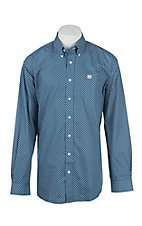 Cinch Men's Blue Patterned Long Sleeve Western Shirt