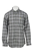 Cinch Men's Grey Black and Lime Green Plaid Long Sleeve Western Shirt