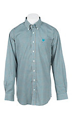 Cinch Men's Turquoise and Grey Print Long Sleeve Western Shirt
