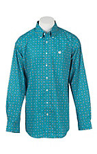 Cinch Men's Turquoise and Yellow Print Long Sleeve Western Shirt