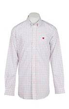 Cinch Men's White with Red and Blue Grid Long Sleeve Western Shirt