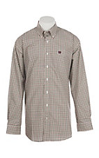 Cinch Men's Cream, Burgundy & Black Plaid L/S Western Shirt