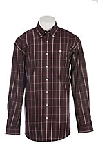 Cinch Men's Burgundy, Black & White Plaid L/S Western Shirt