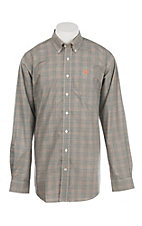 Cinch Men's Grey and Peach Plaid L/S Western Shirt