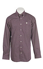 Cinch Men's Cream & Burgundy Print L/S Western Shirt