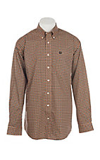 Cinch Men's Coral, White & Black Circle Print L/S Western Shirt