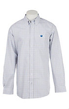 Cinch Men's White with Blue and Black Checkered Print Long Sleeve Western Shirt