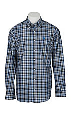 Cinch Men's Grey and Blue Plaid Long Sleeve Western Shirt