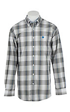 Cinch Men's Grey w/ Light Blue Plaid Long Sleeve Western Shirt