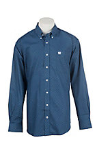 Cinch Men's Royal Blue Grid Printed Long Sleeve Western Shirt