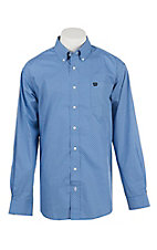 Cinch Men's Blue with Navy Grid Print Long Sleeve Western Shirt