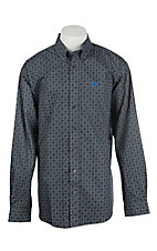 Cinch Men's Grey w/ Blue and White Print Long Sleeve Western Shirt