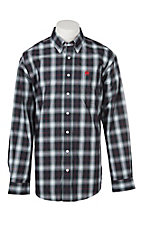 Cinch Men's Navy & Red Plaid Print Long Sleeve Western Shirt