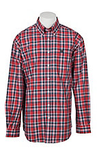Cinch Men's Red & Navy Plaid Long Sleeve Western Shirt