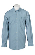 Cinch Men's Teal Checker Print Long Sleeve Western Shirt