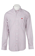 Cinch Men's White & Red Diamond Geometric Print Long Sleeve Western Shirt
