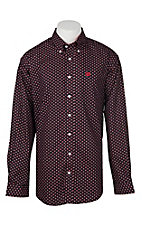 Cinch Men's Black & Red Geometric Print Long Sleeve Western Shirt