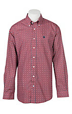 Cinch Men's Red & Blue Geometric Print Long Sleeve Western Shirt